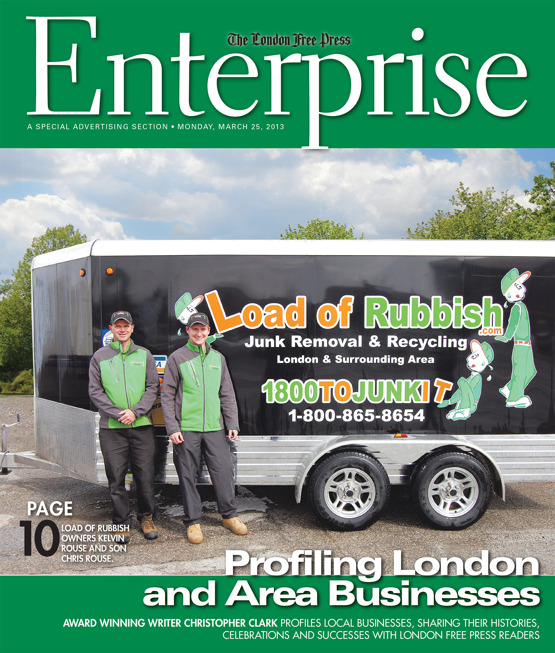 Load of Rubbish Featured Front Page in London Free Press Enterprise